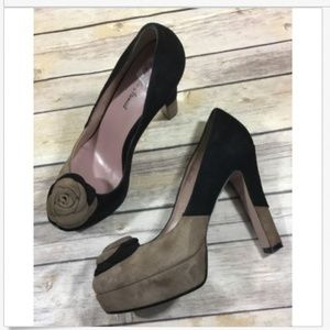 Sesto Meucci Suede Leather High Heels 9M Black Tan